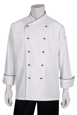 Picture of Chef Works - CCCB - Coogee Classic Chef Coat with Black Piping
