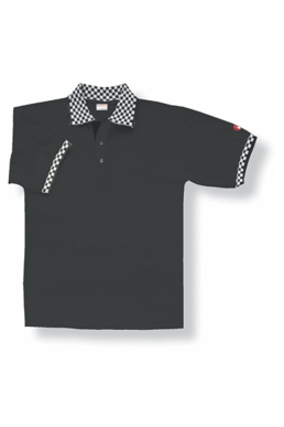 Picture of Chef Works - PCHB - Black Polo with Checked Cuff and Collar