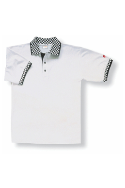 Picture of Chef Works - PCHW - White Polo with Checked Cuff and Collar