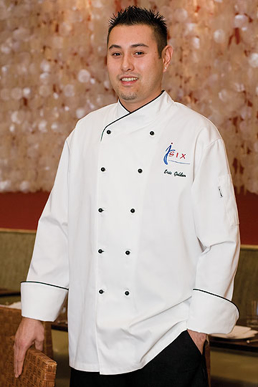 Picture of Chef Works - COBT - Champagne Executive Chef Coat w Black Piping