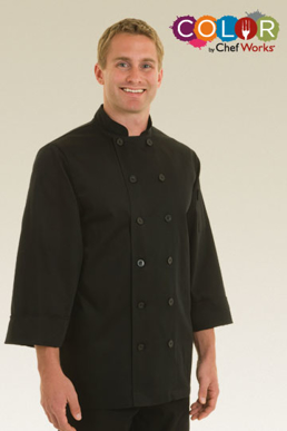 Picture of Chef Works - BAST - Bastille Black Basic Chef Coat