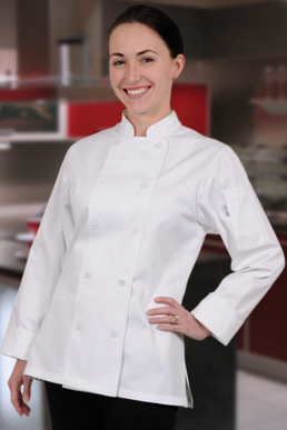 Picture of Chef Works - CWLJ-PIN - Marbella Women's Pink Executive Chef Coat