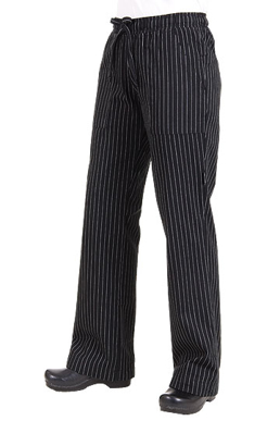 Picture of Chef Works - BWOM-BPS - Women's Black Pinstripe Chef Pants