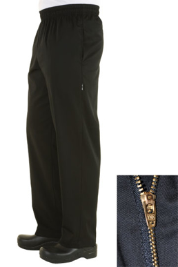 Picture of Chef Works - NBBZ - Black Basic Baggy Pants w Zipper Fly