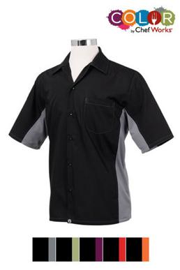 Picture of Chef Works - CSMC-BLO - Men's BlackOrange Universal Contrast Cook Shirt