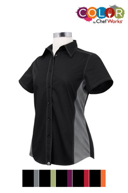 Picture of Chef Works - CSWC-BLO - Female BlackOrange Universal Contrast Shirt