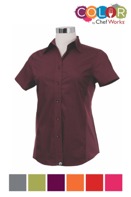 Picture of Chef Works - CSWV-RED - Female Red Universal Contrast Shirt