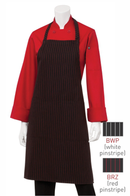 Picture of Chef Works - CSAA-BRZ - RedBlack Pinstripe Bib Apron