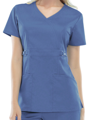Picture of CHEROKEE-CH-21701-Cherokee Luxe Junior Two-Pocket Mock Wrap Scrub Top