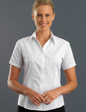 Picture of John Kevin Uniforms-109 Grey-Womens Short Sleeve Classic Stripe