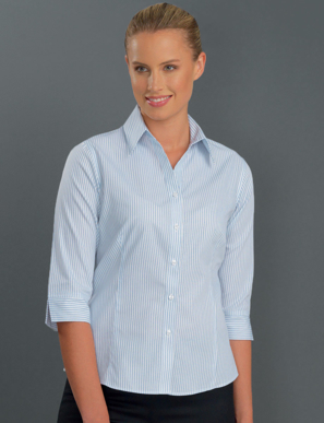 Picture of John Kevin Uniforms-112 Blue-Womens 3/4 Sleeve Three Way Stripe