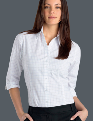 Picture of John Kevin Uniforms-130 Grey-Womens 3/4 Sleeve Window Check