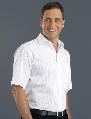 Picture of John Kevin Uniforms-207 White-Men's Short Sleeve Fine Stripe