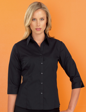 Picture of John Kevin Uniforms-500 Black-Womens Stretch Slim Fit 3/4 Sleeve Poplin