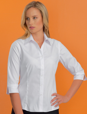 Picture of John Kevin Uniforms-500 White-Womens Stretch Slim Fit 3/4 Sleeve Poplin