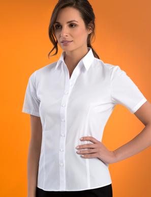 Picture of John Kevin Uniforms-503 White-Womens Stretch Slim Fit Short Sleeve Poplin