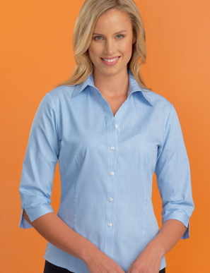 Picture of John Kevin Uniforms-520 Sky-Womens Stretch Slim Fit 3/4 Sleeve Bengal Stripe