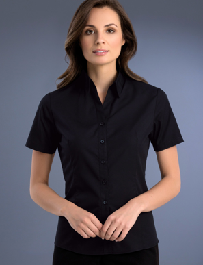 Picture of John Kevin Uniforms-701 Black-Womens Slim Fit Short Sleeve Poplin