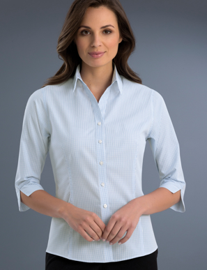 Picture of John Kevin Uniforms-724 Blue-Womens Slim Fit 3/4 Sleeve Mini Check
