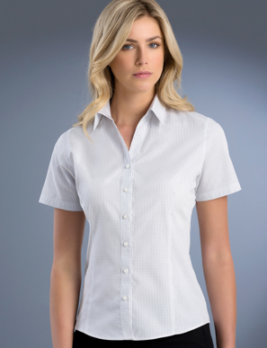 Picture of John Kevin Uniforms-725 Grey-Womens Slim Fit Short Sleeve Mini Check