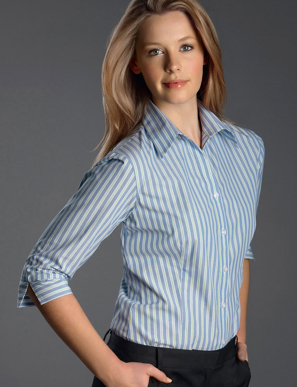 Picture of John Kevin Uniforms-322 Forest-Womens 3/4 Sleeve Fashion Stripe