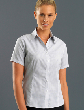 Picture of John Kevin Uniforms-325 Grey-Womens Short Sleeve Mini Check