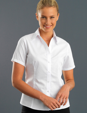 Picture of John Kevin Uniforms-361 White-Womens Short Sleeve Self-Stripe