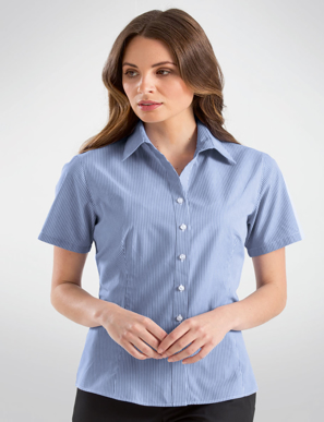 Picture of John Kevin Uniforms-351 Blue-Womens Short Sleeve Simplicity Stripe