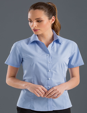 Picture of John Kevin Uniforms-355 Blue-Womens Short Sleeve Multi Check