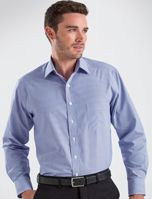 Picture of John Kevin Uniforms-450 Blue-Mens Long Sleeve Simplicity Stripe