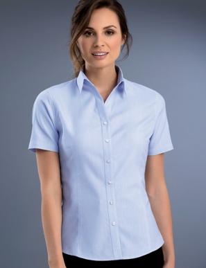 Picture of John Kevin Uniforms-739 Sky-Womens Slim Fit Short Sleeve Pinpoint Oxford