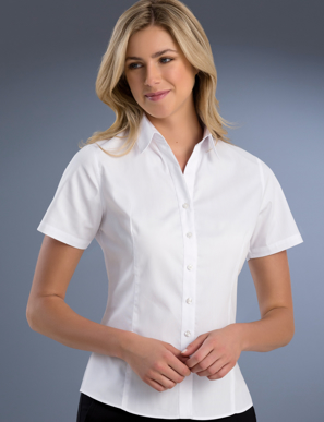Picture of John Kevin Uniforms-741 White-Womens Slim Fit Short Sleeve Pinpoint Oxford