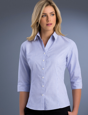 Picture of John Kevin Uniforms-770 Blue-Womens Slim Fit 3/4 Sleeve Dobby Stripe