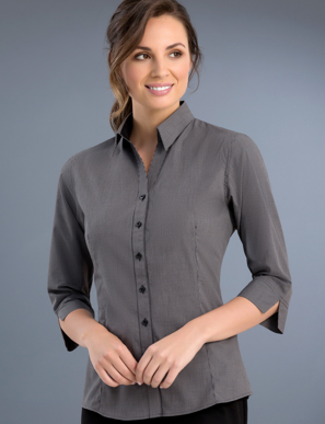 Picture of John Kevin Uniforms-774 Charcoal- Womens Slim Fit 3/4 Sleeve Small Check