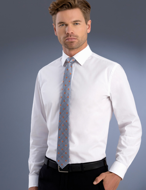 Picture of John Kevin Uniforms-800 White-Mens Slim Fit Long Sleeve Poplin
