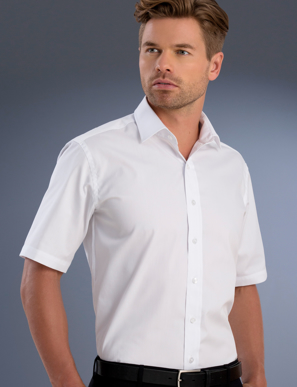 Picture of John Kevin Uniforms-841 White-Mens Slim Fit Short Sleeve Pinpoint Oxford