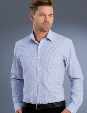 Picture of John Kevin Uniforms-870 Blue-Mens Slim Fit Long Sleeve Dobby Stripe