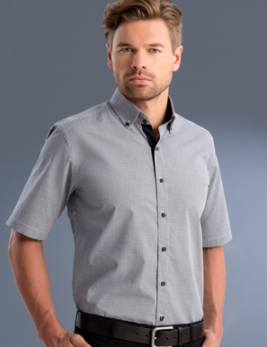 Picture of John Kevin Uniforms-873 Black-Mens Slim Fit Short Sleeve Small Check