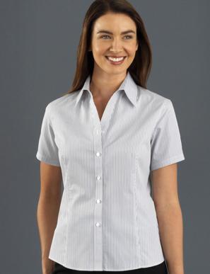 Picture of John Kevin Uniforms-367 Steel-Womens Short Sleeve Herringbone Stripe