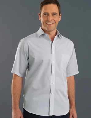 Picture of John Kevin Uniforms-425 Grey-Mens Short Sleeve Mini Check