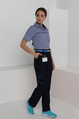 Picture of LSJ collection-172K-MG-Ladies Multi pocket straight leg flex waist pant