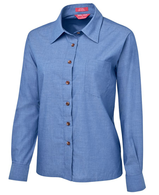 Picture of JBs Wear-4LIC-JB's LADIES ORIGINAL L/S INDIGO CHAMBRAY SHIRT