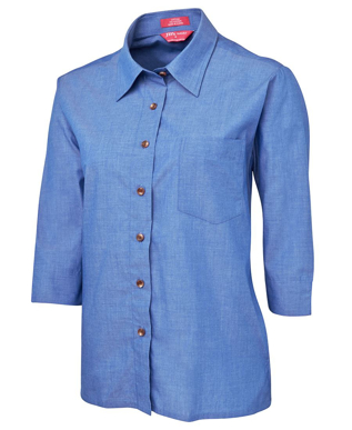 Picture of JBs Wear-4LICT-JB's LADIES ORIGINAL 3/4 INDIGO CHAMBRAY SHIRT
