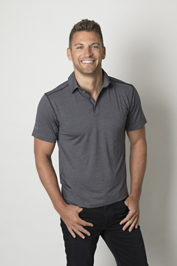 Picture of Be seen-BKP700-Mens Charcoal Heather soft touch fabric polos