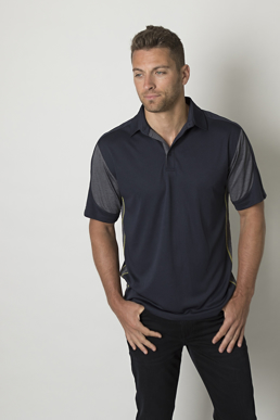 Picture of Be seen-BKP800-Mens polo with contrast soft touch heather fabric at sleeves and side panels