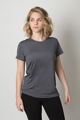 Picture of Be seen-BKT475L-Ladies charcoal heather soft touch fabric t-shirt