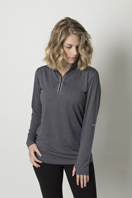 Picture of Be seen-BKHZ450L-Ladies charcoal heather soft touch fabric long sleeve top