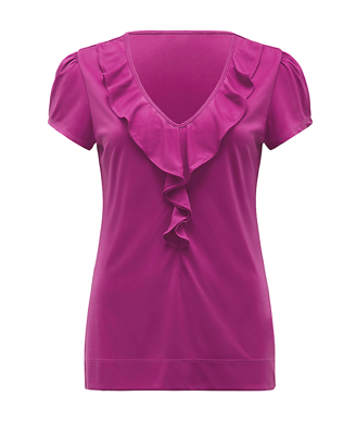 Picture of NNT Uniforms-CAT48H-FUS-Cap Sleeve Ruffle Neck T-Top