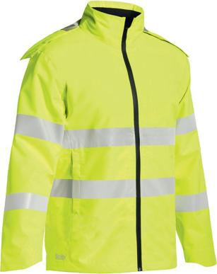 Picture of Bisley Workwear-BJ6927T-Taped Hi Vis Lightweight Ripstop Mini Ripstop Rain Jacket With Concealed Hood (Waterproof)