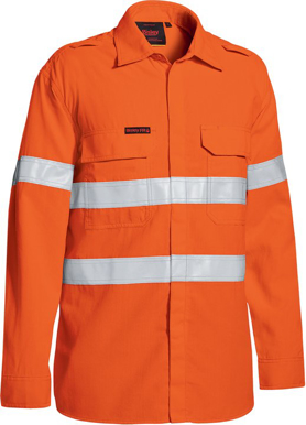 Picture of Bisley Workwear-BS8238T-Tencate Tecasafe® Plus 480 Taped Hi Vis Lightweight Fr Vented Shirt Long Sleeve
